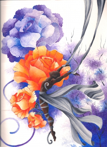 Watercolor on paper painting titled Yellow Rose
