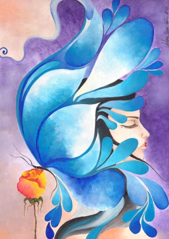 Watercolor on paper painting titled Tears