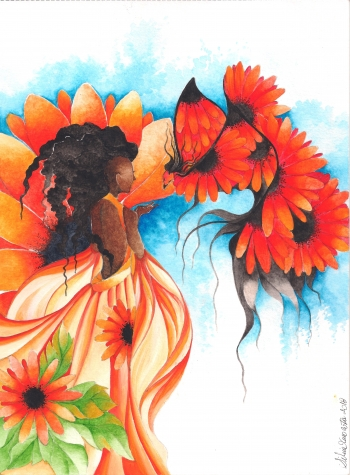 Watercolor on paper painting titled Sun Flower
