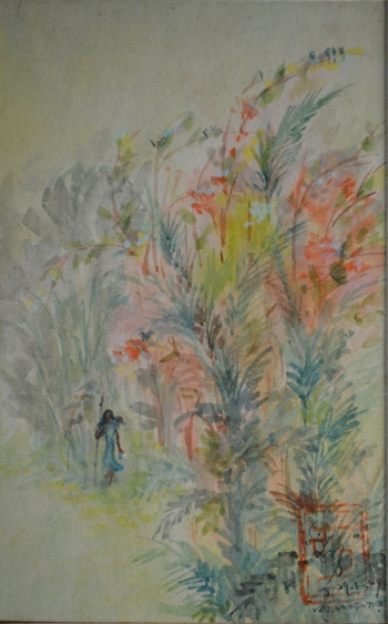 Watercolor, Oil Pastel, Sketch Pen on Post Card painting titled A walk through the woods