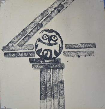Potato Print on Drawing Sheet painting titled The Owl