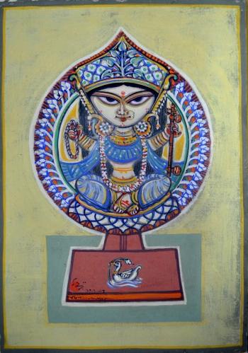 Watercolor on Nepali Paper painting titled Sarada Saraswati