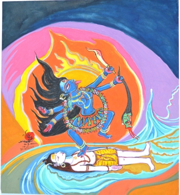 Water Color on Drawing Sheet painting titled Goddess Kali