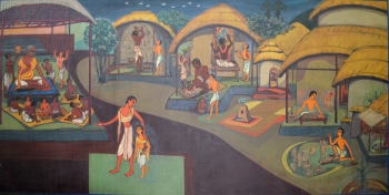 Watercolor on Markin Cloth on Masonite Board painting titled Artist Ramakrishna II