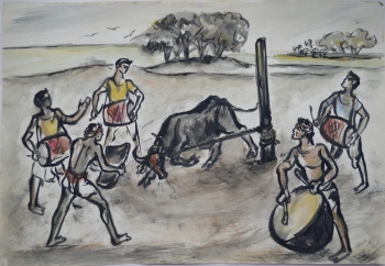 Water Color on Drawing Sheet, Unframed painting titled The Matadors