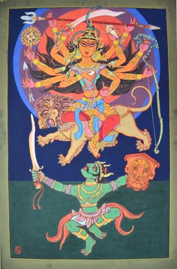 Watercolor on Canvas painting titled Sri Sri Chandi