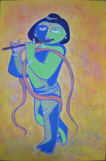 Watercolor on Canvas Drum Mount painting titled Rama Kanhaiyan