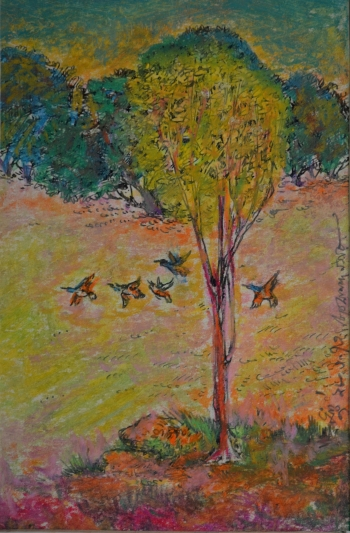 Watercolor, Oil Pastel, Sketch Pen on Post Card painting titled Flight of the Birds