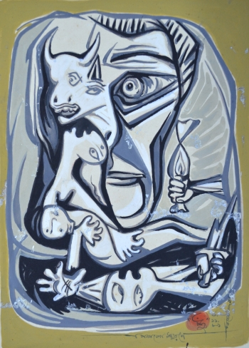 Watercolor on Cardb Board painting titled Tribute to Picasso 100 years