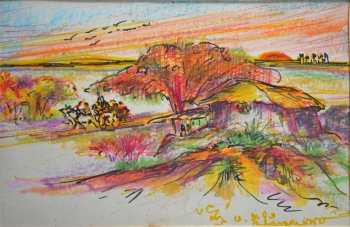 Watercolor, Oil Pastel, Sketch Pen on Post Card painting titled Morning in the Village