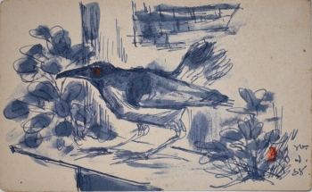 Watercolor on Postcard painting titled The Cunning Crow