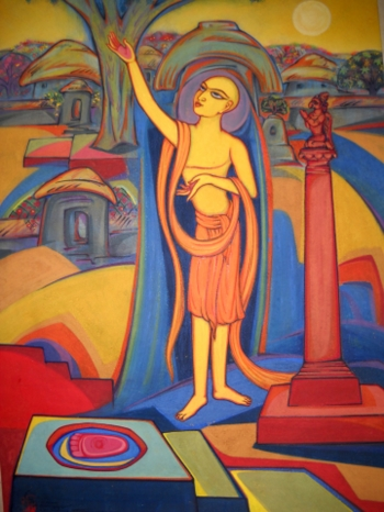 Watercolor on Canvas painting titled Chaitanya