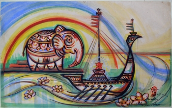 Watercolor on Drawing Sheet on Masonite Board painting titled The Arrival and Departure of Durga