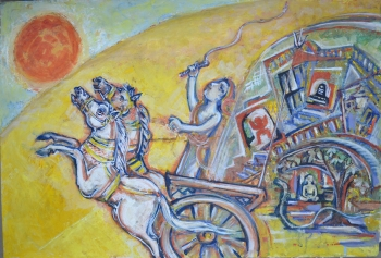 Watercolor on Drawing Sheet painting titled Young Vivekananda
