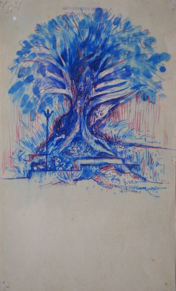 Water Color and Ball Point Pen on Thin Drawing Paper, Unframed painting titled Banyan Tree