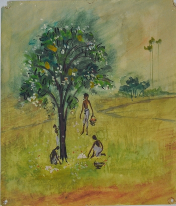 Water Color on Drawing Sheet painting titled The Jasmine Pickers