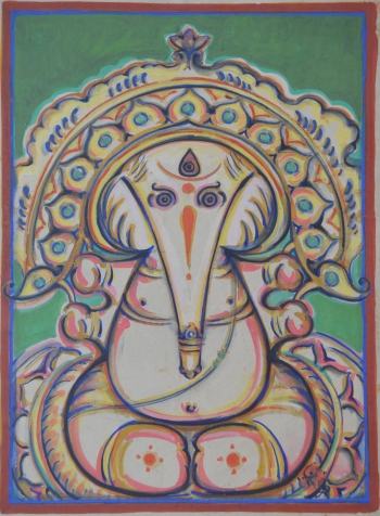 Water Color on Drawing Sheet painting titled Ganesha