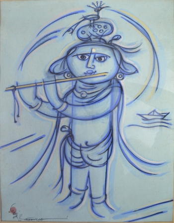 Watercolor on Handmade Paper painting titled Little Krishna