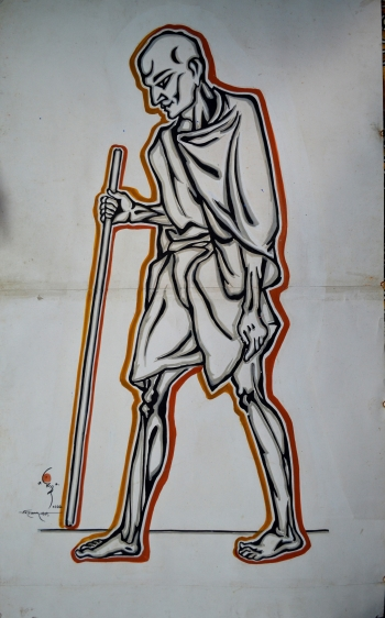 Watercolor on Poster Paper, Unframed painting titled Gandhi