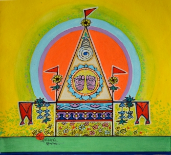 Watercolor on Poster Paper painting titled Temple of Vishnu