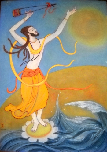 Watercolor on Canvas painting titled Baul