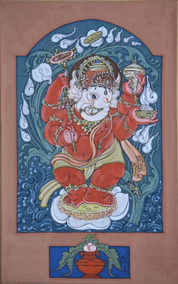 Watercolor on Poster Paper painting titled Ganesha