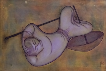 Watercolor on Canvas painting titled The Siesta