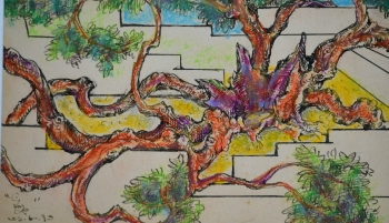 Watercolor, Oil Pastel, Sketch Pen on Post Card painting titled Bodi Brikkha