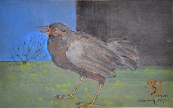 Watercolor, Oil Pastel, Sketch Pen on Post Card painting titled At Eternitys Gate