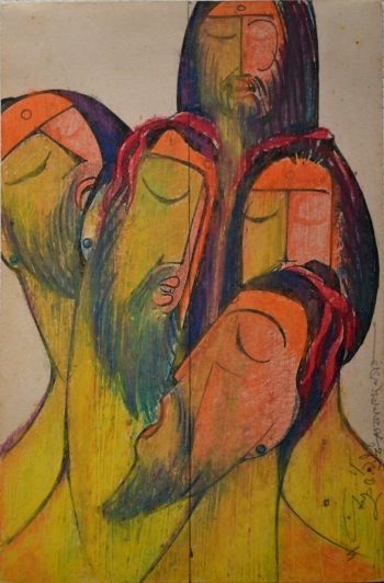 Water Color on Drawing Sheet painting titled The Mendicants