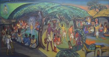 Watercolor on Markin Cloth Masonite Board painting titled Artist Ramakrishna I