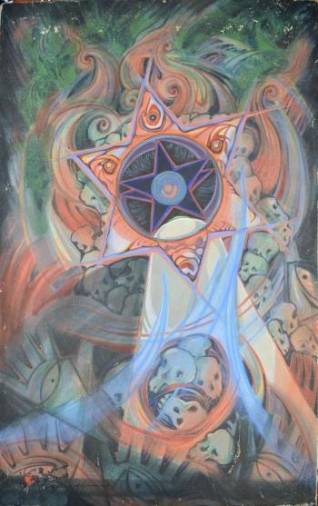 Watercolor Masonite Board Markin Cloth painting titled The Armageddon