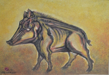 Watercolor on Drawing Sheet painting titled Wild Boar (Varaha)