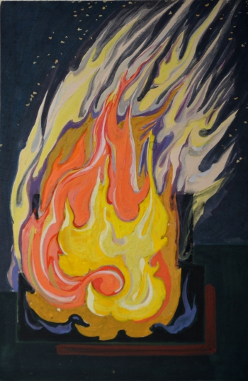 Watercolor on Postcard painting titled Fire