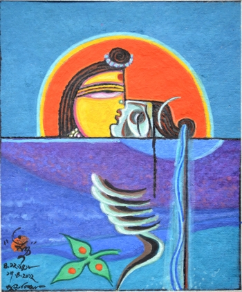 Water Color on hand Made Paper painting titled Bhikari Shiv