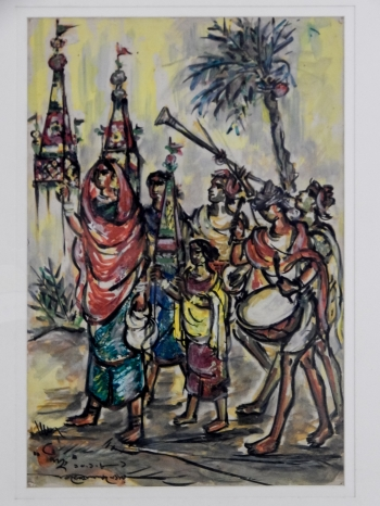 Watercolor on Canvas painting titled Festival
