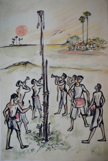 Water Color on Drawing Sheet, Unframed painting titled Charak