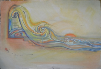 Water Color on Drawing Sheet, Unframed painting titled Ramakrishna