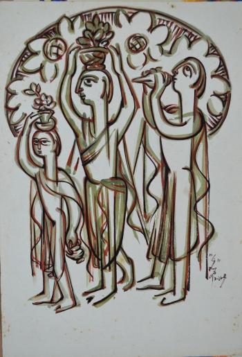 Watercolor on Drawing Sheet painting titled Barsha Mangal