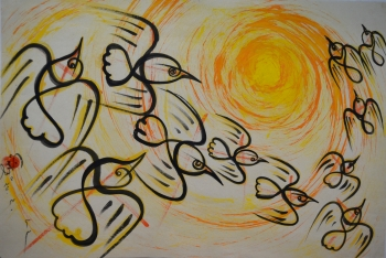 Water Color on Drawing Sheet, Unframed painting titled Flight of the Flocks
