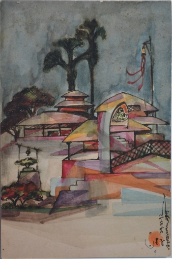 Sketch Pen and Water Color on Post Card painting titled Village