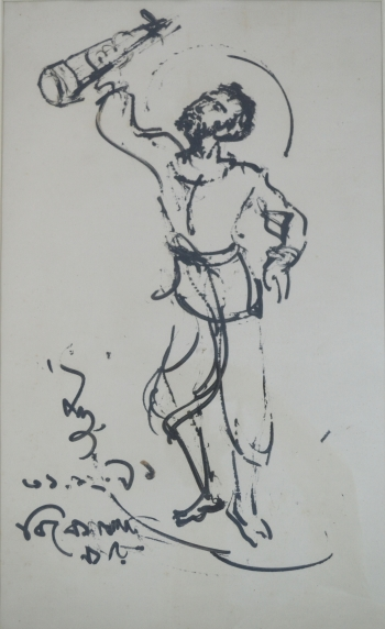 Direct Tube on Hard Drawing Sheet painting titled Sahojiya Ramakrishna