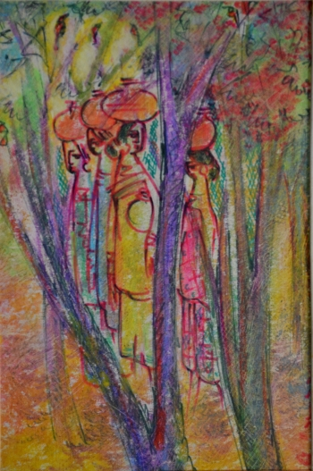Watercolor, Oil Pastel, Sketch Pen on Post Card painting titled Village Women