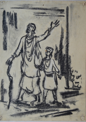 Charcoal on Paper, Unframed painting titled Fakir and Child
