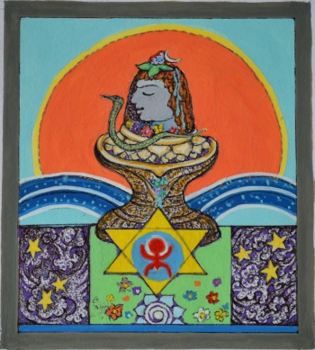 Water Color on hand Made Paper painting titled Shiva