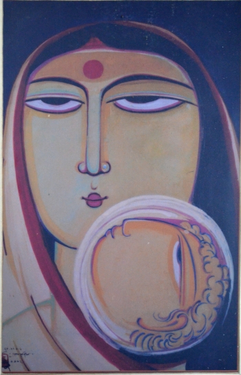 Water Color on hand Made Paper painting titled Mother and Child