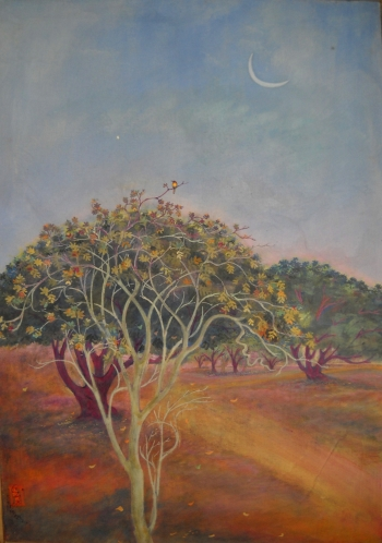 Watercolor on Canvas painting titled Dusk