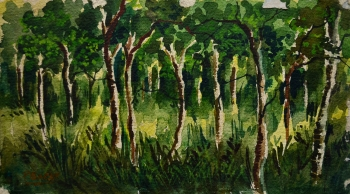Watercolor on Handmade Paper painting titled Through the Lush Valley
