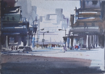 Watercolor on Poster Paper painting titled Cityscape