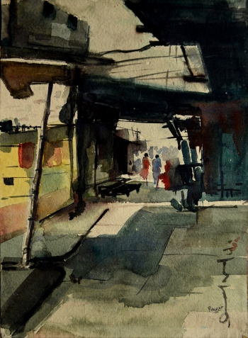 Watercolor on Handmade Paper painting titled Old City Street, Kolkata